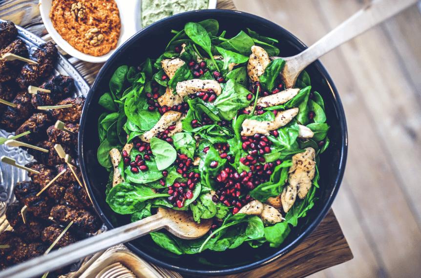 self-management skills: spinach chicken pomegranate salad